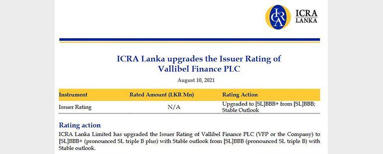 ICRA Lanka upgrades the Issuer